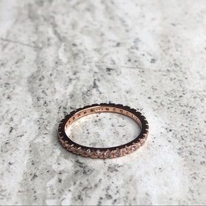 925 Sterling Silver Rose Gold Plated CZ Band Ring